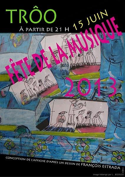 Affiche Fete de la Musique Troo 2013 <p>C'est Samedi 15 juin que Troo et Thoré la Rochette, organisent leurs fête de la musique avancée ! Succès pour les 2 lieux (très proches) , l'un à Troo avec ses 44 groupes, répartis dans la ville : dans les jardins et caves (remarquables), de la petite ville de caractère, avec Blast, Clef 3G, ... Et l'autre à la Gare de Thoré, lieu qui a accueilli le Comice cette année, la semaine dernière, avec 8 caves (de vigneron) et du beau monde : Ropoporose, D. Delabrosse, Arsène C, My name is nobody, Papaye, ...</p> Liens</p> Thoré la Rochette : Gare à la Rochette Troo : OT Montoire