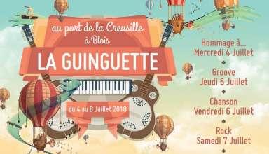 """Guinguette 4 8 Juillet 2018 La Guinguette, organisé par la Maison de Bégon, c'est 5 soirées musicales à thème (""""Hommage à..."""", """"Groove"""", """"Rock"""", """"Chanson"""" et """"Musique du Monde""""), gratuites de 18h30 à 1h avec un espace bar-restauration, au port de Blois - la Creusille - avec une belle vue sur Blois et la ville avec un joli coucher de soleil en prime tout les soirs (prévoir lunette de soleil pour assister au concert - reflets & luminosité)..."""